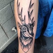 grey ink geometric deer tattoomagz