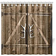 Shower Curtains Rustic Interestprint Wooden Garage Barn Door Shower Curtain