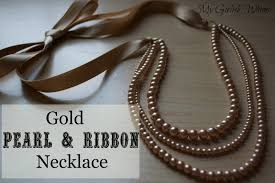 necklace pearls ribbon images Gold pearl and ribbon necklace tutorial my girlish whims jpg