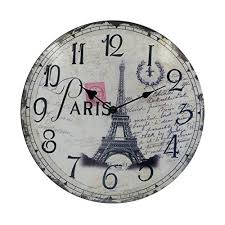 themed wall clock chic vintage eiffel tower wall clock
