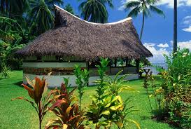 houses thatched bungalow moorea island grass blue sky house trees