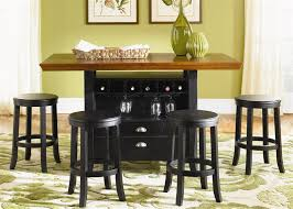 Casual Dining Room Furniture Sets Pub Casual Dining 5 Piece Center Island Table Set In Rubbed Black