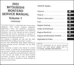 2002 mitsubishi montero repair shop manual original set