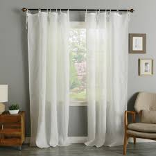 White Tie Curtains Linen Tie Top Curtains 50 W X 84 L