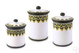 italian canisters kitchen italian canisters handmade in deruta pavone nero thatsarte