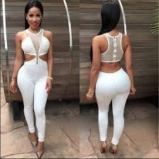 white sleeveless jumpsuit white see through hollow out cut out sleeveless bodysuit jumpsuit