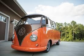 orange volkswagen van 1961 volkswagen bus crew cab jng creationsjng creations