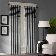interior beauty brown fabric striped window curtain design ideas