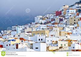 moroccan houses white moroccan town tetouan near tangier morocco stock photo