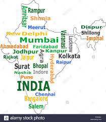 Chennai India Map by India Map And Words Cloud With Larger Cities Stock Photo Royalty