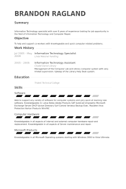 information technology specialist resume samples visualcv resume