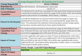 software development status report template change request template free project management templates
