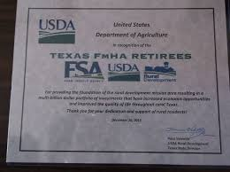 us dept of agriculture rural development texas fmha retirees news of former employees