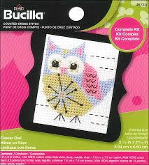 bucilla counted cross stitch kit 2 1 2 in mini flower owl