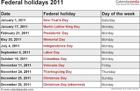federal holidays 2011