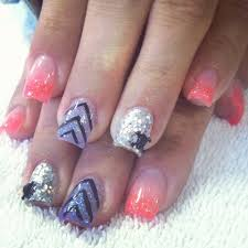 summer acrylic nails coral silver purple chevron and acrylic