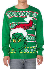 grinch christmas sweater dr seuss the grinch santa men s fuzzy christmas sweater ebay