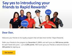 Rapid Rewards Card Invitation Earn Up To 2000 Southwest Rapid Rewards By Referring Friends