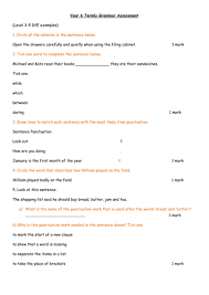 grammar and punctuation termly test yr 3 4 5 and 6 by jenbo21