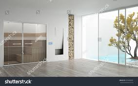 spa hotel room sauna fireplaceswimming pool stock illustration