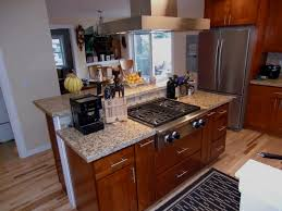 remodeled kitchens with islands remodeled kitchen island with commercial gas range top yelp
