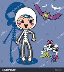 Skeleton Images For Halloween by Cute Little Wearing Skeleton Costume Stock Vector 55808521