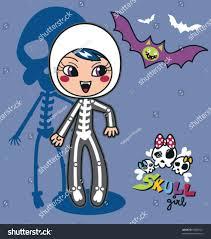cute little wearing skeleton costume stock vector 55808521