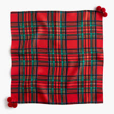 italian silk scarf in tartan plaid with pom poms women scarves