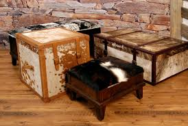 ottoman simple cowhide ottoman collection with brick wall and