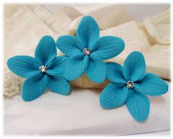 teal flowers turquoise hair flowers aqua flower wedding hair pins