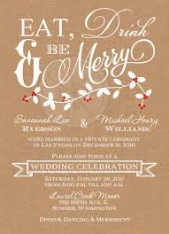 Eat Drink And Be Married Invitations Winter Wedding Reception Invitation Eat Drink U0026 Be Merry Faux