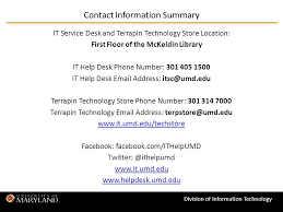 university of maryland help desk division of information technology it support resources and retail
