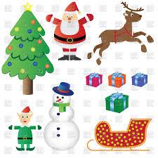 christmas symbols cartoon santa claus christmas elf christmas