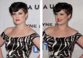 jenna elfman with short hair and kelly osbourne with her hair