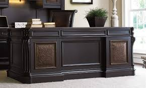 Distressed Office Desk Distressed Black Finish Executive Desk With Leather Panels By