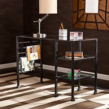 southern enterprises writing desk amazon com southern enterprises glass writing desk 42 wide black