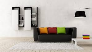 living room gray and black sofa flatscreen tv white paint color