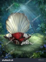 underwater shell throne pearls stock illustration 52616821