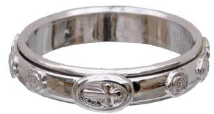 rosary ring silver two rotating rosary ring rrss2