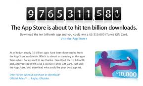 win gift cards the 10 billionth app maybe win 10k itunes gift card