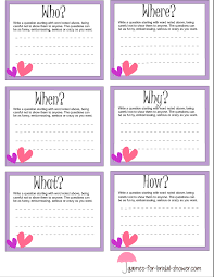 bridal shower question free printable who when where why