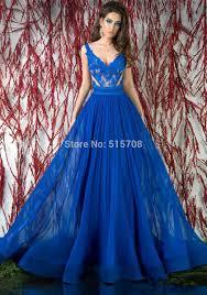 gorgeous royal blue prom dresses v neck sleeveless floor length