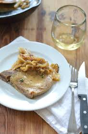 elegant dinner recipes pork chops with dijon white wine sauce and onions