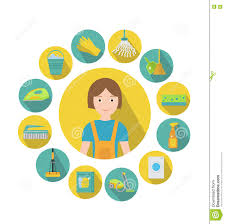 flat design spring cleaning icons stock vector image 65509362