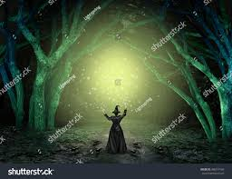 magical witch casting magic spell scary stock illustration