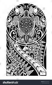 traditional design traditional maori tattoo design turtle stock vector 348415694