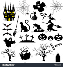 halloween white background halloween black white icons set isolated stock illustration