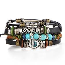 leather bracelet with beads images Mens multilayer leather bracelet noxuses jpg