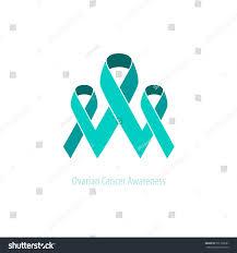 teal ribbons ovarian teal ribbons awarenesssupport emblem duotone stock vector