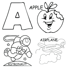 alphabet coloring pages printable apple airplane free images